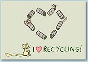 Illustration of gerbils playing among a heart shaped from cardboard tubes with the message 'I Love Recrycling'.